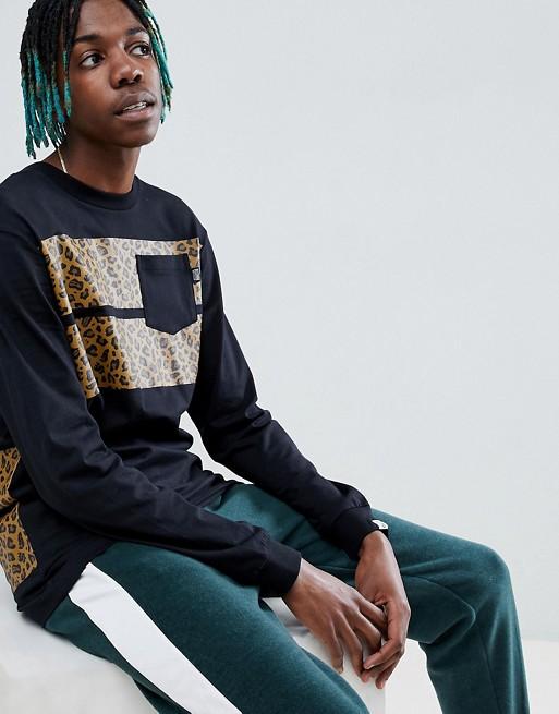 Bild 1 av Billionaire Boys Club – Leopardrandig svart T-shirt med långa ärmar