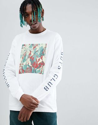 Billionaire Boys Club Lizard Camo Tile Print Long Sleeve T-Shirt In White