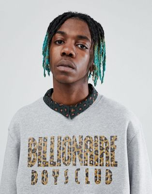 Billionaire Boys Club Reversible Leopard Print Arch Logo Sweatshirt In Grey