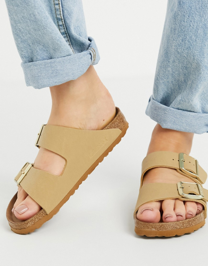 Birkenstock - Arizona - Flade sandaler i beige, imiteret læder-Neutral