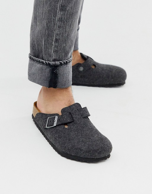 Birkenstock Boston mules in black felt