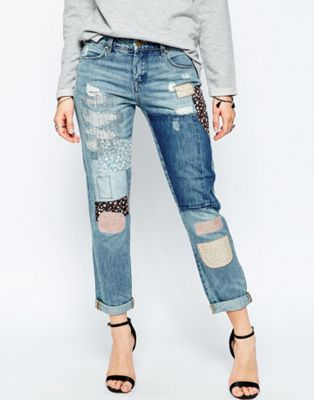 Blank NYC Patch Things Up Applique Patched Denim Mom Jeans in Mid Wash