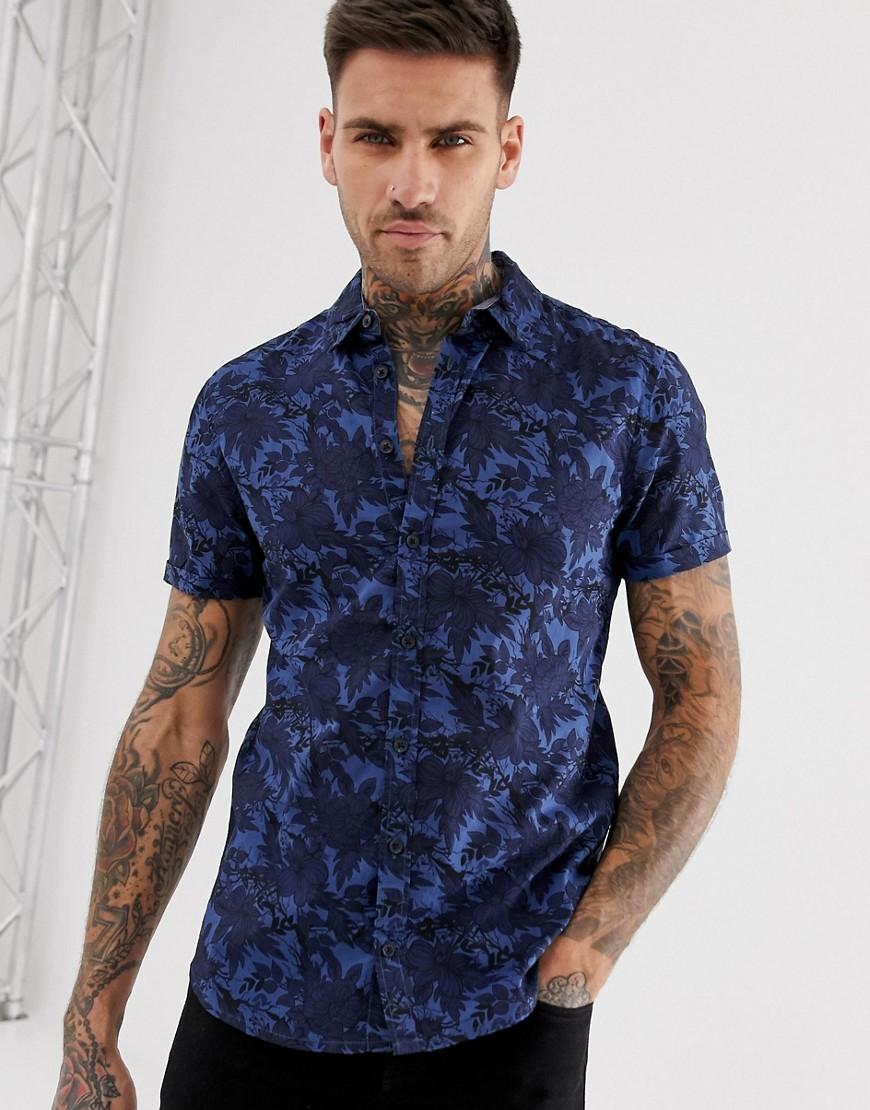Blend - Chemise manches courtes à fleurs - Bleu-Navy