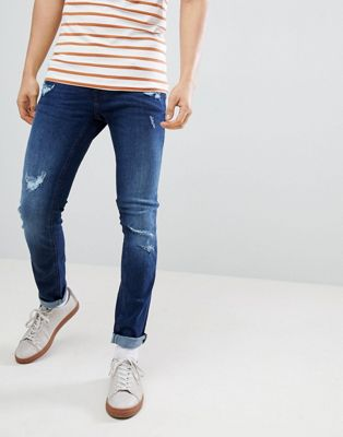 Blend Cirrus Distressed Skinny Jeans Darkwash