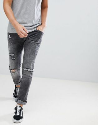 Blend cirrus distressed skinny jeans in grey