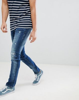 Blend cirrus distressed skinny jeans in mid wash blue