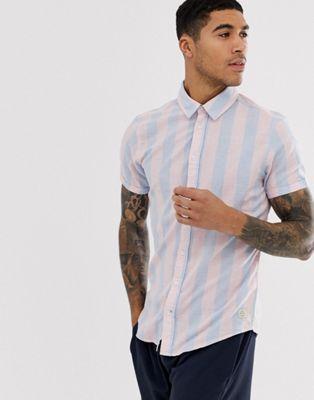 Blend - Koszula z krótkim rękawkiem w pionowe paski w kolorze niebieskim i różowym