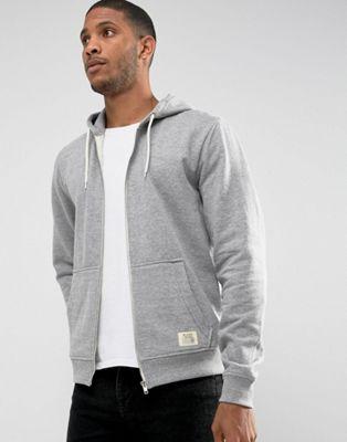 Blend Zipthru Hoodie Core in Grey Melange