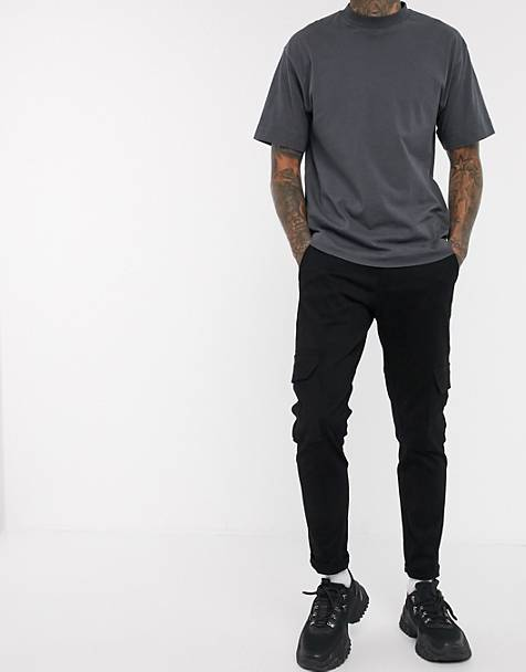 Blood Brother cotton twill slim cargo pants in black