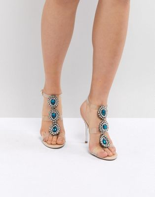 Blue By Betsy Johnson – Sylvi Clear – Dekorerade sandaler med klack till bröllop