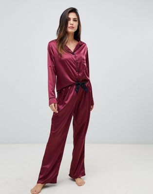 Image 1 of Bluebella Claudia long shirt and pants pyjama set in red