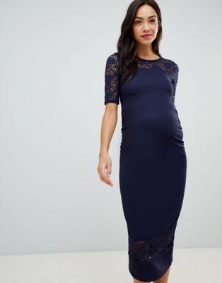 Afbeelding 1 van Bluebelle Maternity - Midi-jurk met kanten inzetstuk