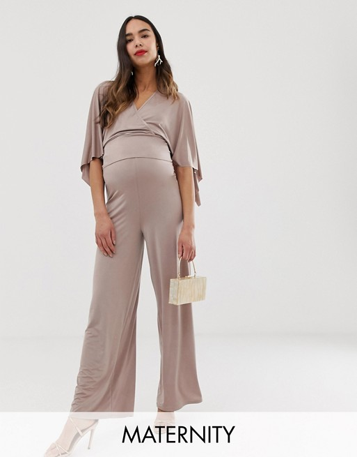 Blume Maternity – Beżowe, dżersejowe spodnie z szerokimi nogawkami od zestawu