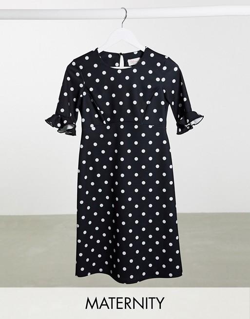 Blume Maternity frill sleeve midi dress in polka dot