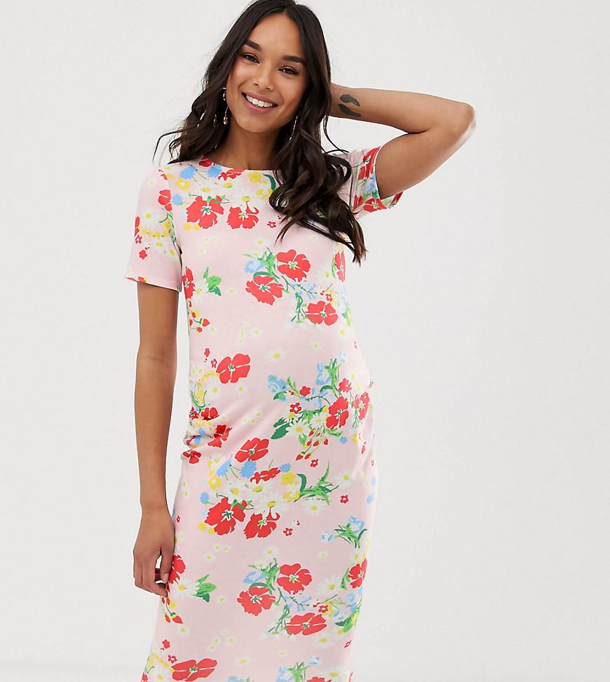Blume maternity robe moulante en jersey à fleurs beige rose