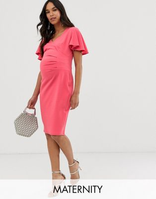 Blume Maternity wrap front midi jersey dress with cap sleeve in coral