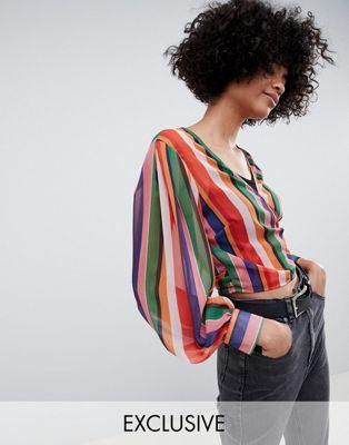 Blusa cruzada a rayas de Reclaimed Vintage Inspired
