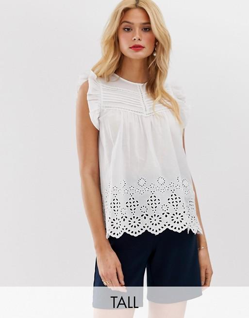 Блузка с короткими рукавами и вышивкой ришелье Y.A.S Tall