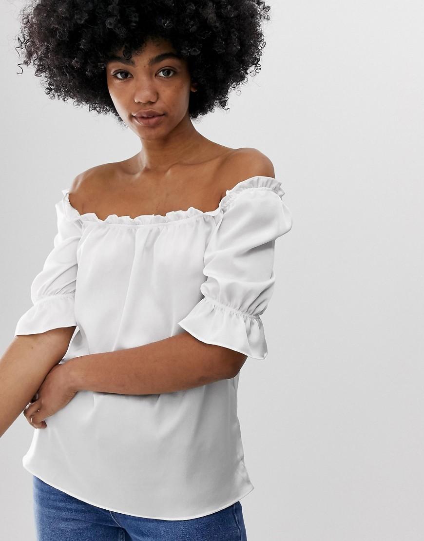Блузка с объемными рукавами Glamorous-Белый