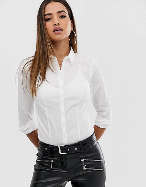 Body de manga larga en algodón elástico blanco de ASOS DESIGN