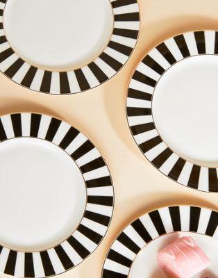 Immagine 1 di Bombay Duck - Set da 4 piatti con righe nere e bianche
