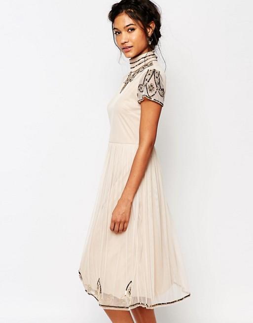 5fec260391bd Boohoo Boutique Beaded High Neck Midi Dress | ASOS