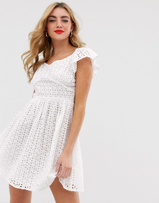 eec993f11d87 Boohoo broderie skater dress with sweetheart neckline in white | ASOS