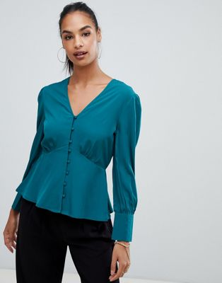 Boohoo button down blouse in teal