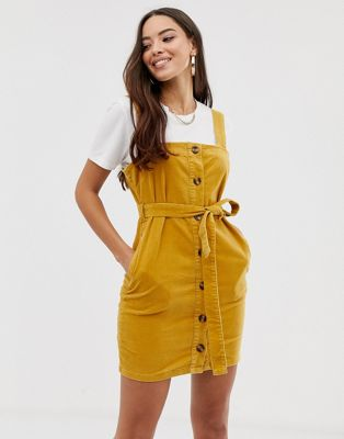 Boohoo button through cord jumper dress mini dress in mustard