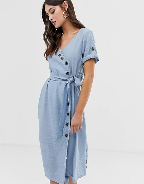 Boohoo button through midi dress with belted waist in pale blue
