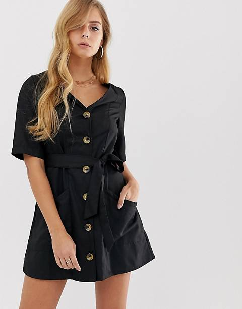Boohoo button through mini dress with tie waist in black