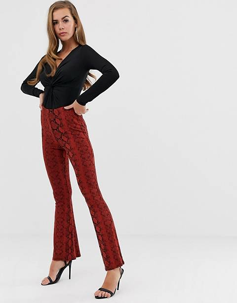 Boohoo casual flare trousers in red snake