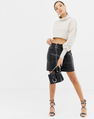 Boohoo circle zip faux leather skirt in black