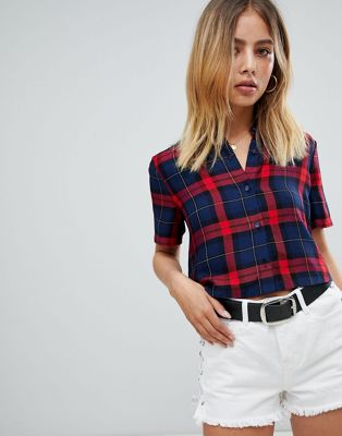 Boohoo cropped short sleeve shirt in check