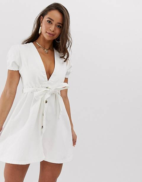 Boohoo denim v neck dress with puff sleeve in white