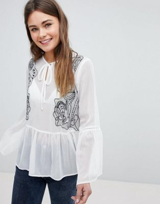 Boohoo Embroidered Frill Hem Blouse