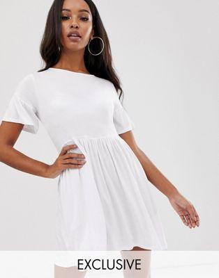 Boohoo - Exclusive - Basic aangerimpelde jurk in wit
