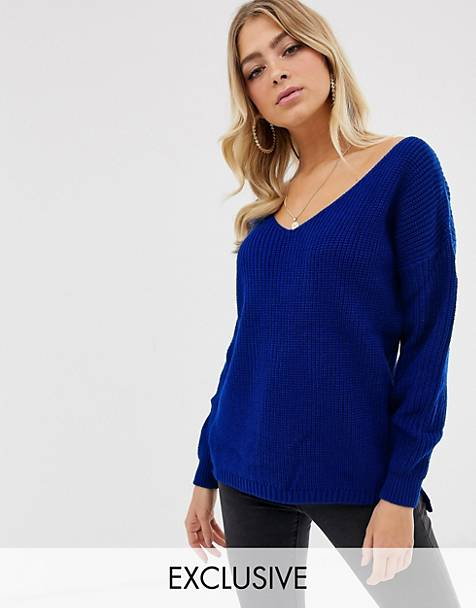 b17af477545f42 Boohoo exclusive basic oversized v neck jumper in blue