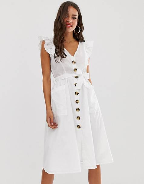 29688d2eda6 Boohoo exclusive broderie midi dress with button through and frill sleeves  in white