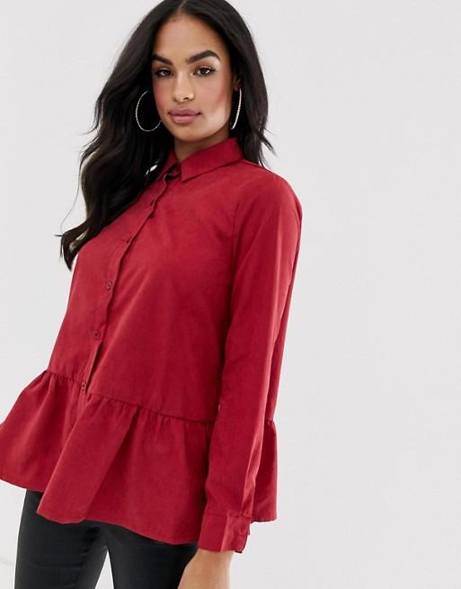 Image 1 of Boohoo exclusive peplum shirt in red