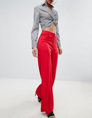 Boohoo Exposed Zip Wide Leg Pants