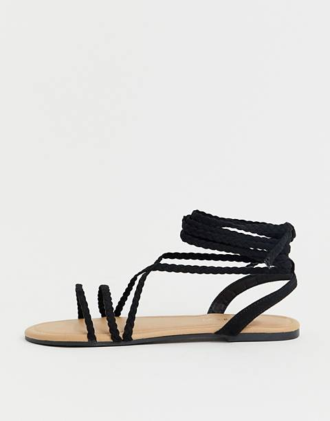 Boohoo flat sandal with braided tie up straps in black