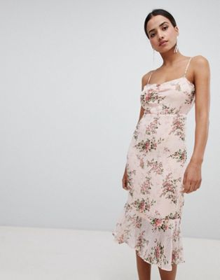 Boohoo Floral Peplum Hem Midi Dress
