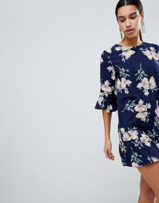 Boohoo Floral Ruffle Hem Shift Dress