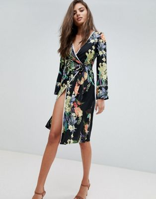 Boohoo Floral Tie Side Midi Dress