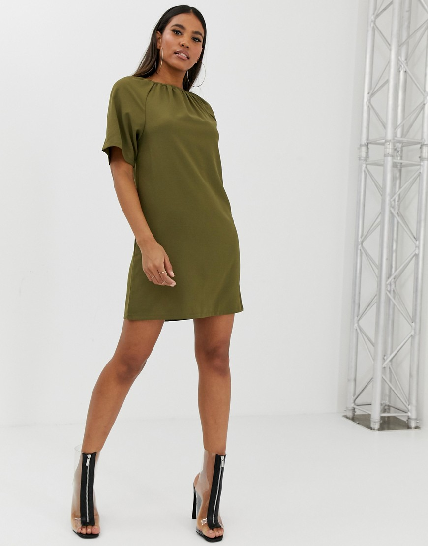 Boohoo Gathered Neck Shift Mini Dress In Khaki by Boohoo