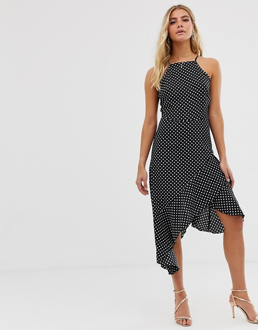 Image 1 of Boohoo high neck midi dress with asymmetric frill hem in black and white polka dot