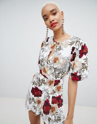 Boohoo Key Hole Floral Mini Dress