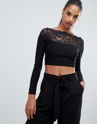 Boohoo lace trim crop top in black