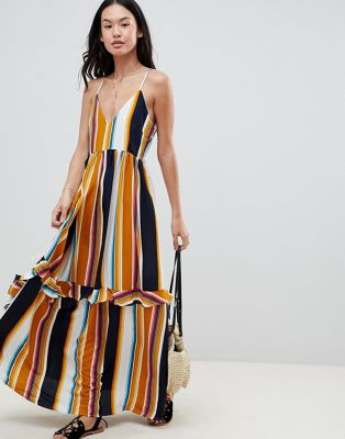 Boohoo Lace Up Back Stripe Ruffle Maxi Dress